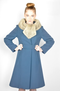 Vintage 1960's blue wool princess coat with fur collar.