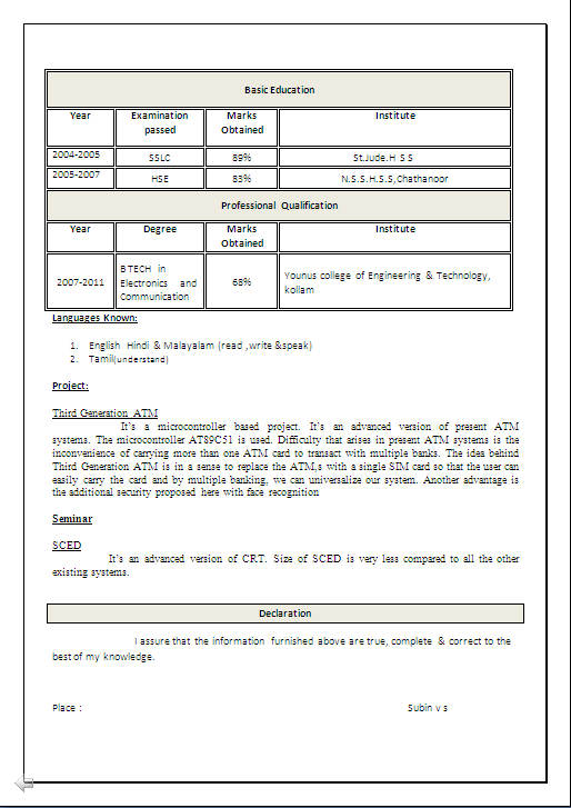 beautiful resume sample in word document   b  tech in