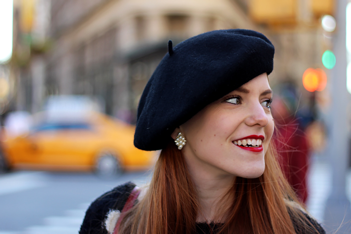 NYC Fashion Blogger outfit with fluffy polka dot sweater, brogues and a beret