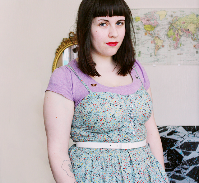fashion outfit vintage style floral dress and lilac top