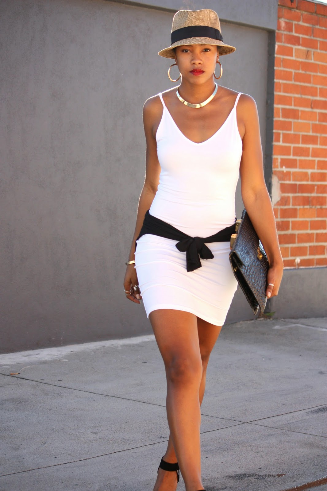 Wearing  Foreign Exchange white slip dress BP straw fedora H&M collar necklace Vintage bag
