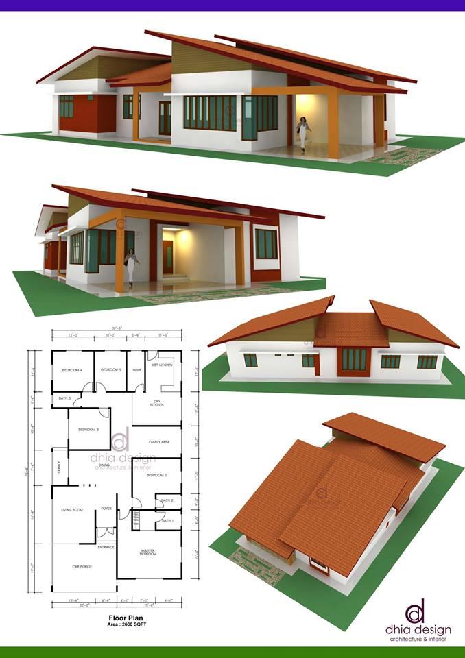 Reka Rumah Anda Di Sini Cadangan Banglo 1 Tingkat Simple Tropical