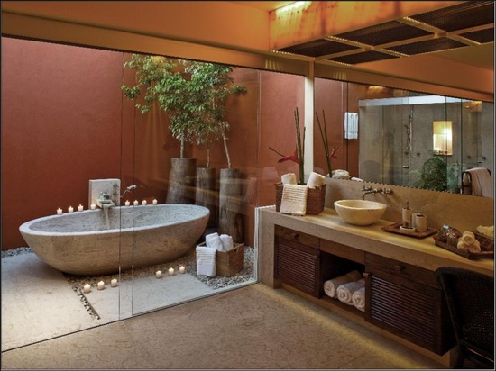 Ev dekorasyon hob spa gibi banyolar for Indoor outdoor bathroom design ideas