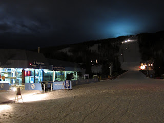 Taking the Eagle Bahn Gondola up the mountain at night.