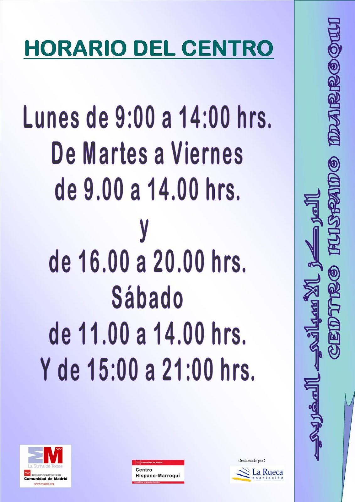 Centro hispano marroqu horario de atenci n for Horario oficinas bankinter madrid