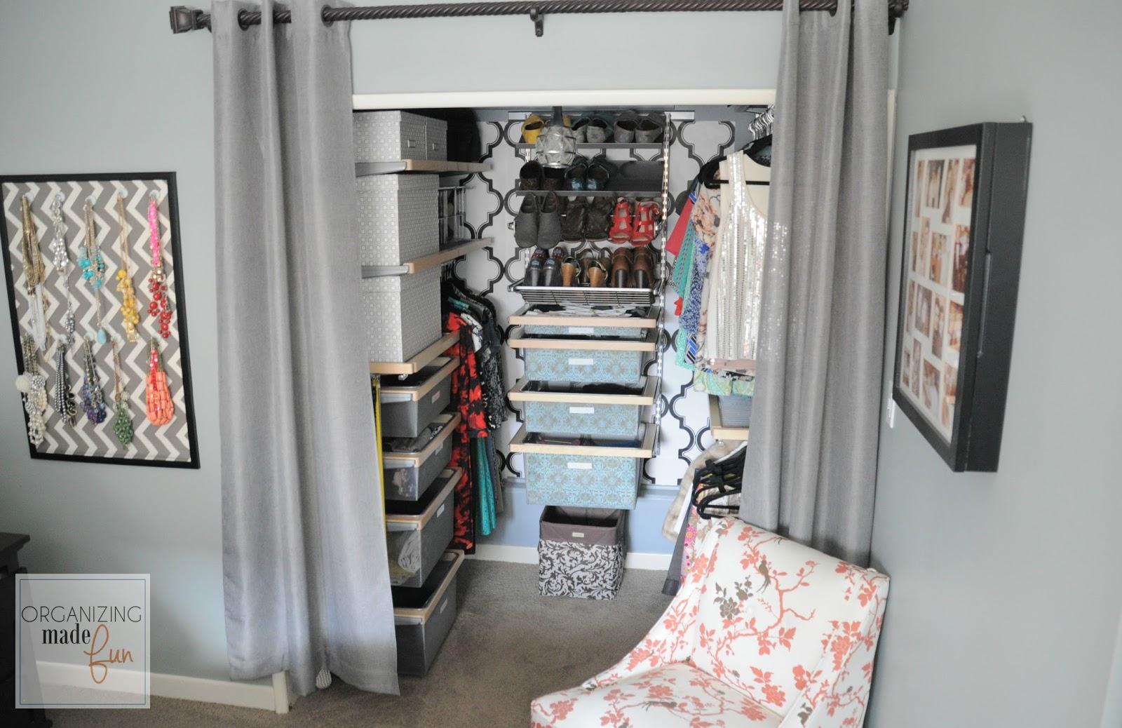 Her Master Closet Organized :: OrganizingMadeFun.com