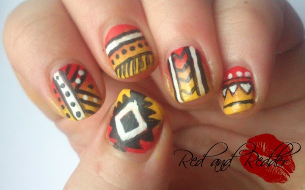 bright tribal aztec nailart
