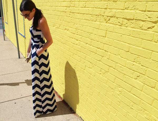 Windsor chevron maxi dress, Gap clutch, straw clutch