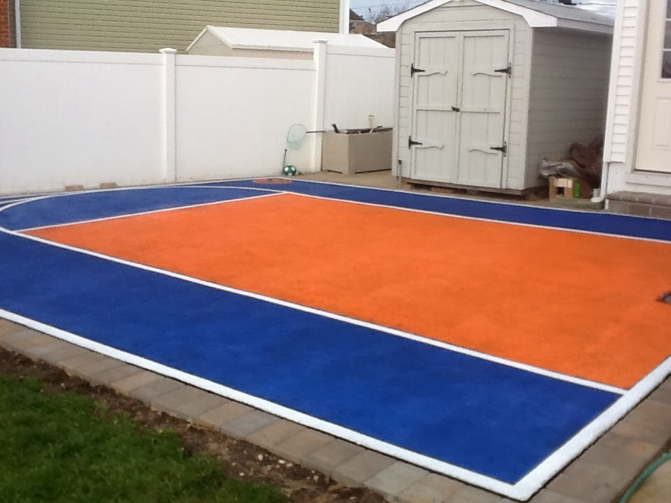 Custom painted basketball court