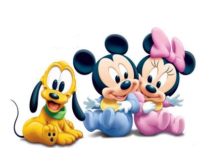 Desenho Minnie, Mickey e Pluto baby colorido