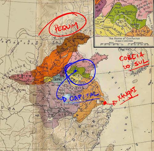 Mapa indicando a província de Lu, no Período das Primaveras e Outonos da China Antiga