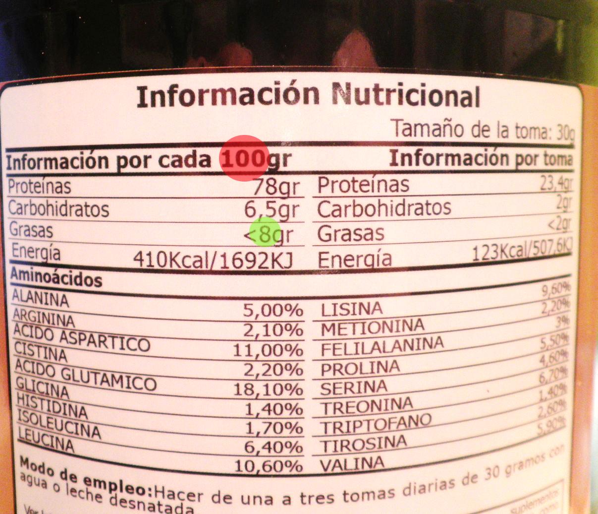 mira la información nutricional
