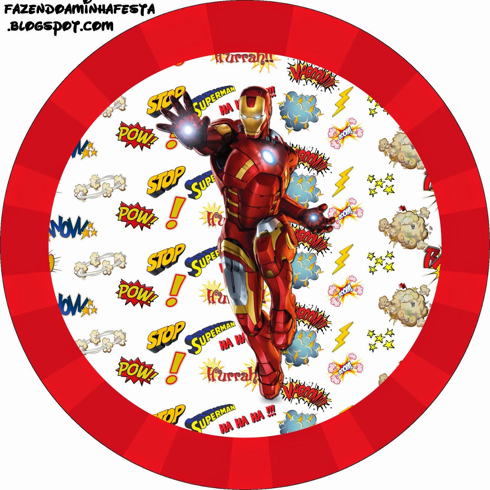 Toppers o Etiquetas Iron Man de para imprimir gratis.