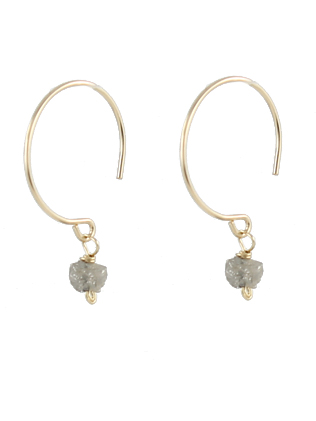14k gold and rough diamond earrings by Peggy Li Creations