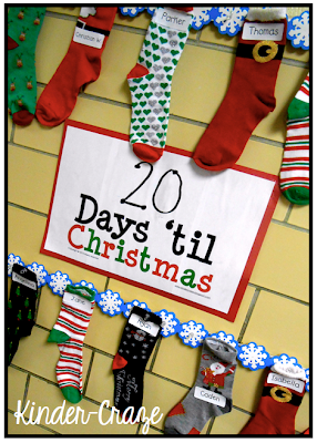 Cute idea! Hang christmas socks in the classroom and use them as stockings!