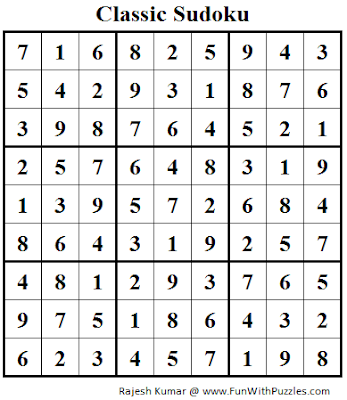 Classic Sudoku (Fun With Sudoku #87) Solution