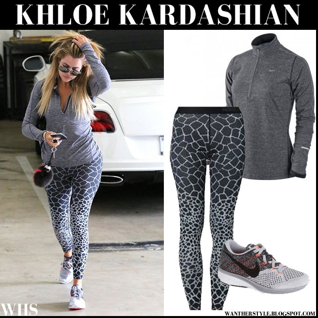 Khloe Kardashian going to the gym in grey Nike element pullover, print giraffe leggings and sneakers flyknit lunar 3 what she wore workout