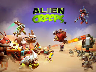 Screenshots of the Alien Creeps TD for Android tablet, phone.