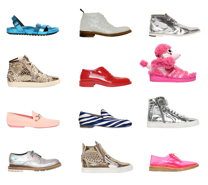 Shoes by A. Testoni, Pierre Hardy, Lanvin, Marc Jacobs, Vivienne Westwood, Jimmy Choo, Giuseppe Zanotti, Adidas by Jeremy Scott, Dsquared, Giacomorelli, Burberry Prorsum