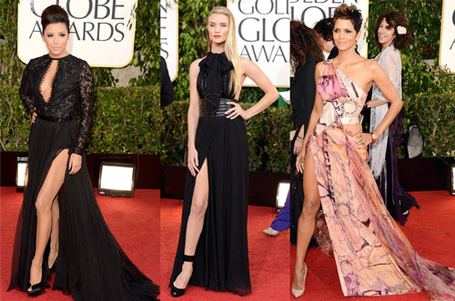 Eva Longoria (Emilio Pucci), Rosie Huntington-Whiteley (Yves Saint Laurent) and Halle Berry (Atelier Versace)