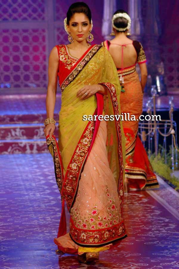 Model in designer half and half saree