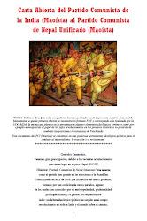 CARTA ABIERTA DEL PCI (MAOÍSTA) AL PCNU (M)