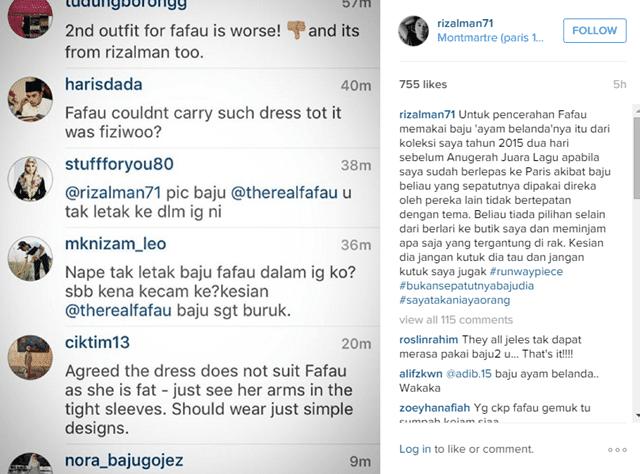 """Penjelasan Rizalman mengenai Fesyen """"Ayam Belanda' Fara Fauzana melalui Instagram beliau"""