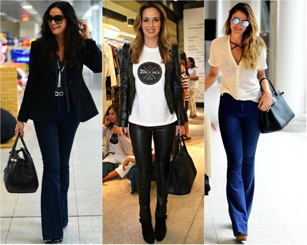 Luiza Brunet, Ana Furtado e Rafa Brites com a bolsa Birkin, da Hermès (Foto: AgNews)