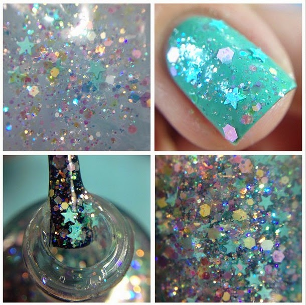 "Glitter Lambs ""Baby Blue Eyeliner  Fashion Makeover Collection Glitter Topper Nail Polish"