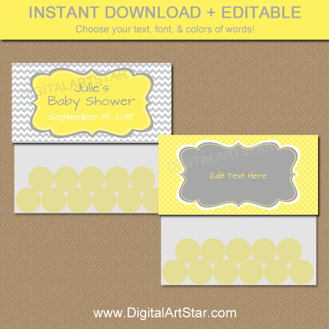 Printable yellow and gray chevron baby shower favor bags