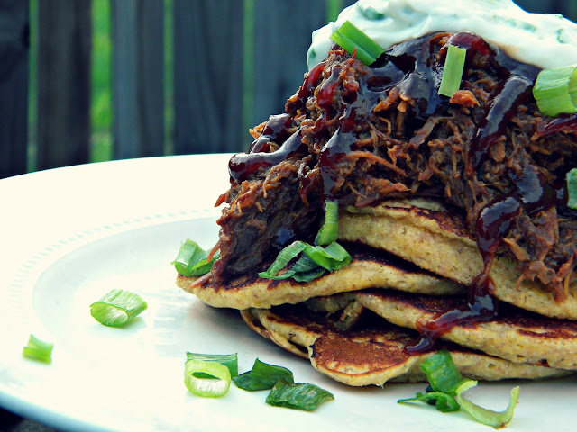 Corn Cakes with BBQ Pork & Chive Cream