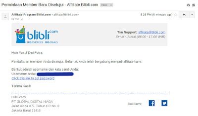 Buka email dari Blibli dan klik pada link Click this link to set password