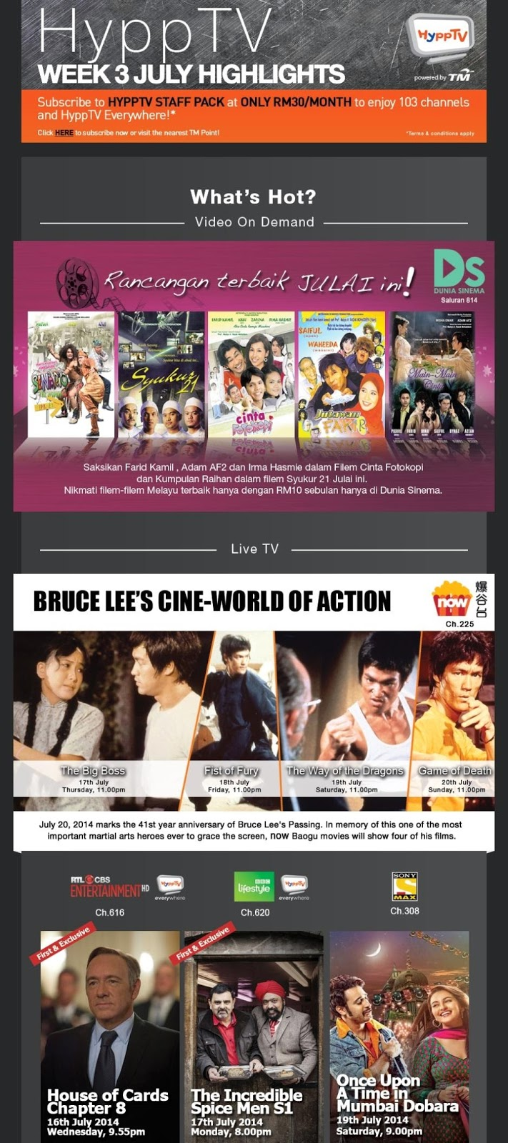 Catch Bruce Lee's Cine-World of Actions and Stand A Chance to Win Guardians of the Galaxy Premiums on HyppTV i-Contest