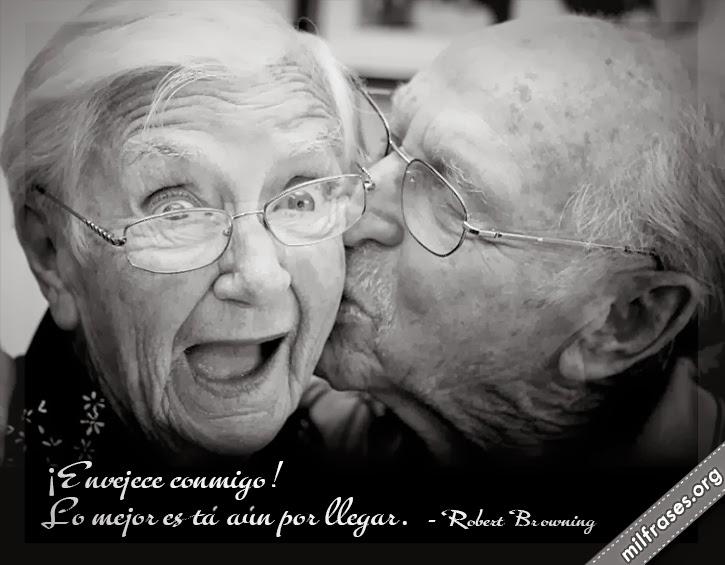 frases y libros de Robert Browning (1812-1889) Poeta inglés., ancianos enamorados besandose