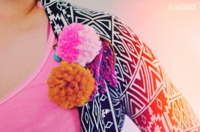 handmade yarn pom pom pin