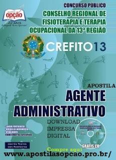 apostila Concurso Crefito 13 Agente Administrativo.