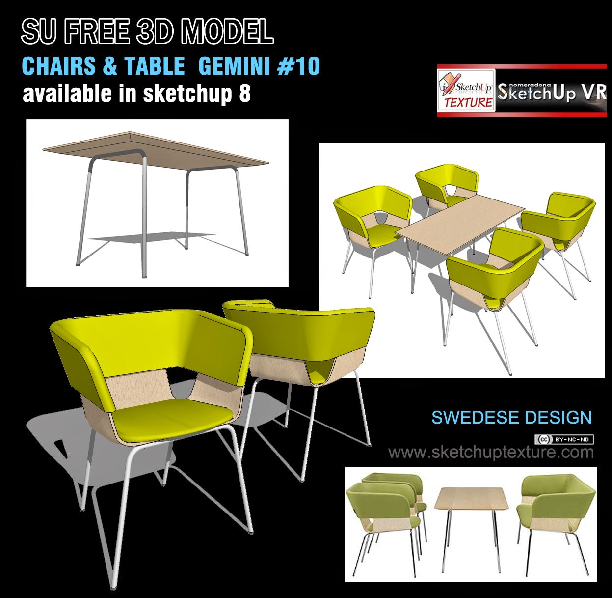 Free sketchup 3d model chair table design 10 tutorial for Table design sketchup