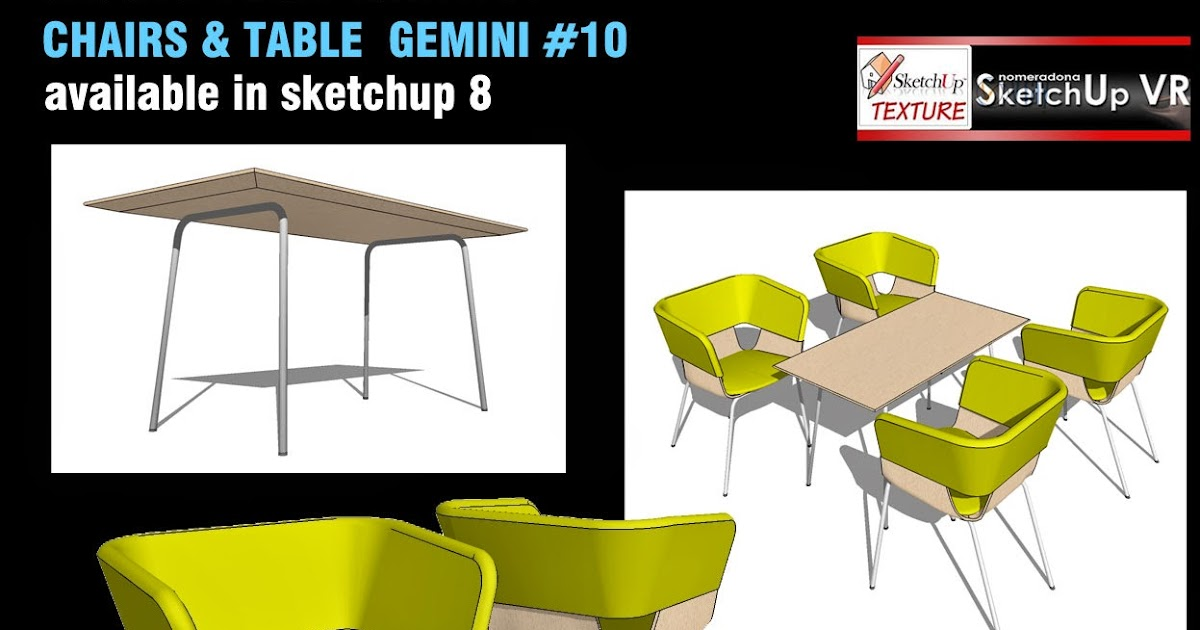 Sketchup texture free sketchup 3d model chair table for Table design sketchup