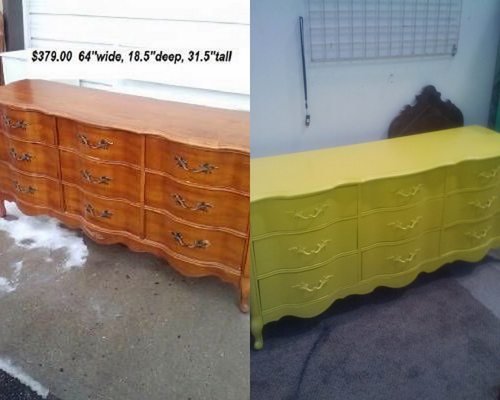 Yellow shabby chic furniture - French Provincial Dresser Painted Bright Yellow For A Childs Room