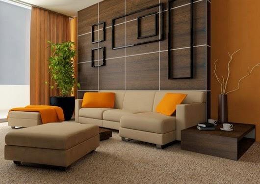 تركيبه البني البرتقالي الديكور brown-living-room-co