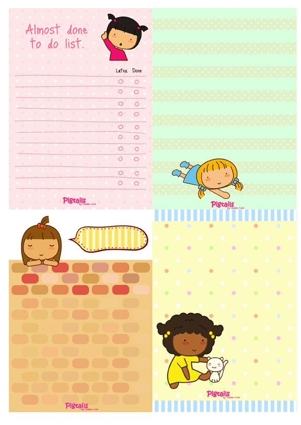 Free Printable: Cute Pigtails Paper Sheet | Free Download Cute ...