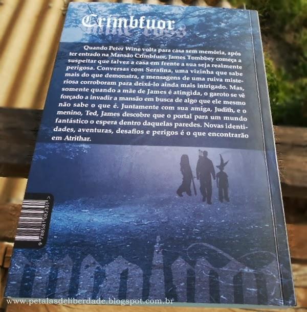 """contracapa do livro """"Crimbfuor - Chegada a Atrithar"""", Mike Ross, Giostri, livro de fantasia, ficção, resenha"""