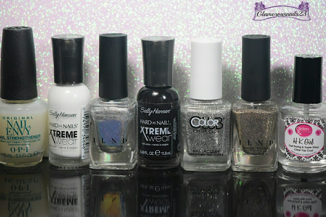 O.P.I. Original Nail Envy, Sally Hansen Xtreme Wear White On, ILNP Mega (S), Sally Hansen Xtreme Wear Black Out, Color Club Silver Glitter, ILNP Fame, Glisten & Glow HK Girl Fast Drying Top Coat