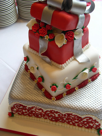 Harlequin Style Tier Square Silver Wedding Cakefebruary