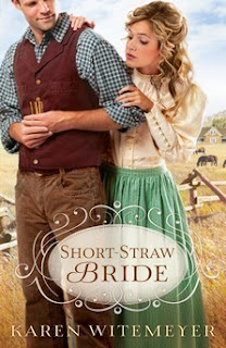 cover of Short Straw Bride by Karen Witemeyer shows woman looking over a man's shoulder, he is holding a straw