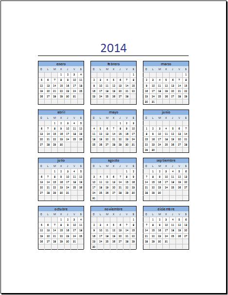 2014 Calendario En Excel