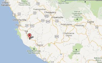 mapa con epicentro del temblor en Ica 2 julio 2012