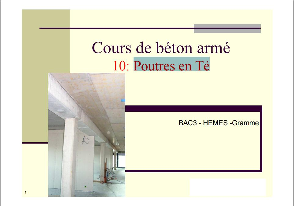 Cours de beton arm poutres en te pdf book batiment architecture for Cours de construction pdf
