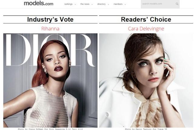 Rihanna es nombrada la mejor modelo del 2015.