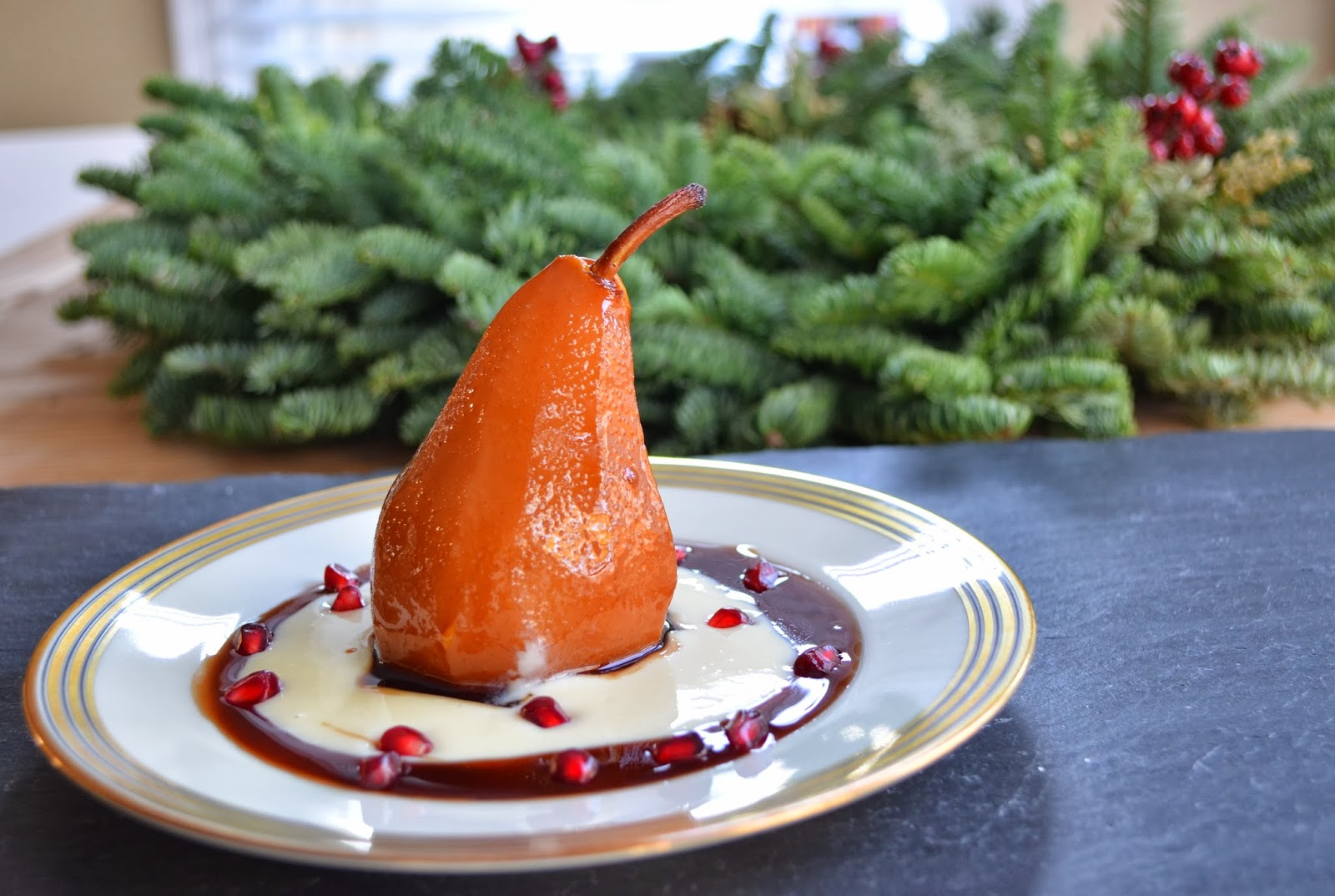 Poached pears with creme Anglaise.